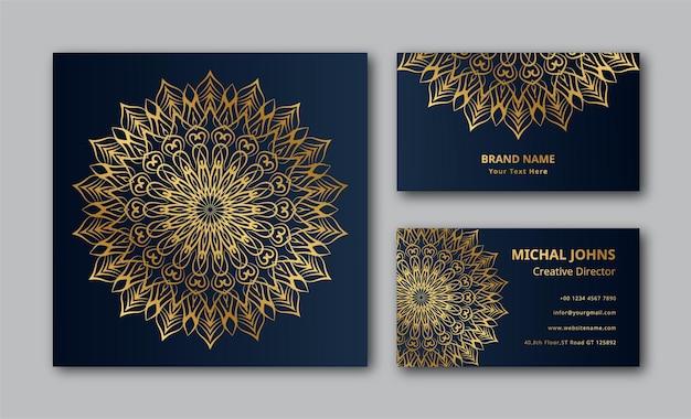 Invitation de mariage avec carte de visite mandala design eps