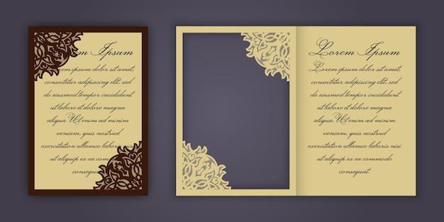 Invitation de mariage ou carte de voeux avec ornement dentelle vintage.
