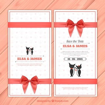 Invitation de mariage avec des chats mignons