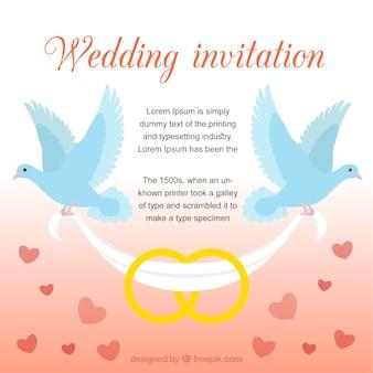 Invitation de mariage avec des colombes