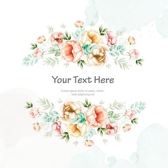 Invitation de mariage coloré avec cadre floral aquarelle