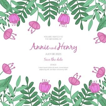 Invitation de mariage colorée dessinée à la main