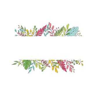 Invitation de mariage, conception de verdure florale de vecteur de carte d'invitation rectangulaire : feuilles vertes de branche, herbe de feuillage. illustration vectorielle