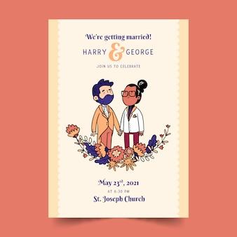 Invitation de mariage avec couple dessiné