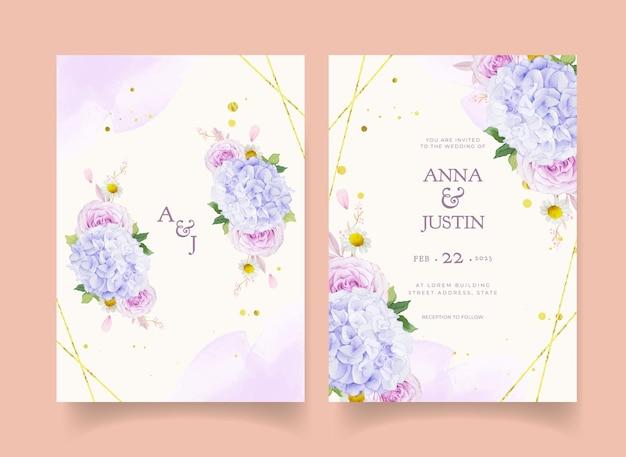 Invitation de mariage avec dahlia roses pourpres aquarelles et fleur d'hortensia