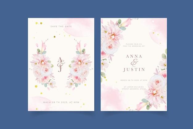 Invitation De Mariage Avec Dahlia Roses Roses Aquarelles Et Fleur De Lys Vecteur gratuit