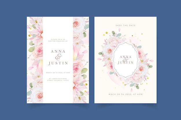 Invitation de mariage avec dahlia roses roses aquarelles et fleur de lys