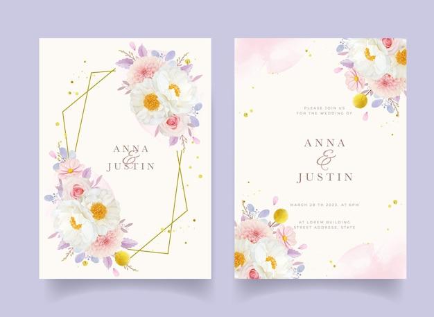 Invitation de mariage avec dahlia roses roses aquarelles et fleur de pivoine