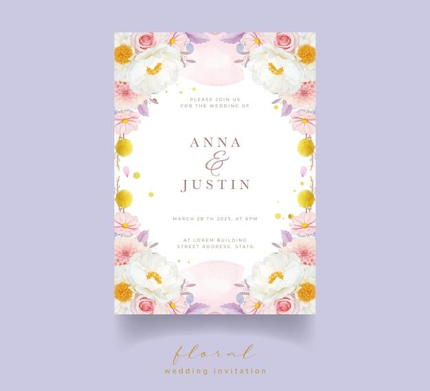 Invitation De Mariage Avec Dahlia Roses Roses Aquarelles Et Fleur De Pivoine Vecteur gratuit