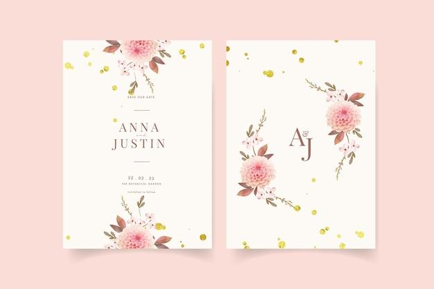 Invitation de mariage avec dahlias aquarelles et rose