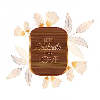 Invitation de mariage dans un cadre en bois