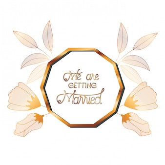 Invitation de mariage dans un cadre doré avec des fleurs