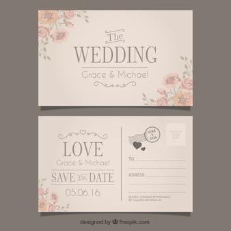 Invitation de mariage dans le style de carte postale