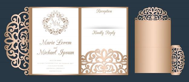 Invitation de mariage découpée au laser, modèle d'enveloppe de poche à trois volets.