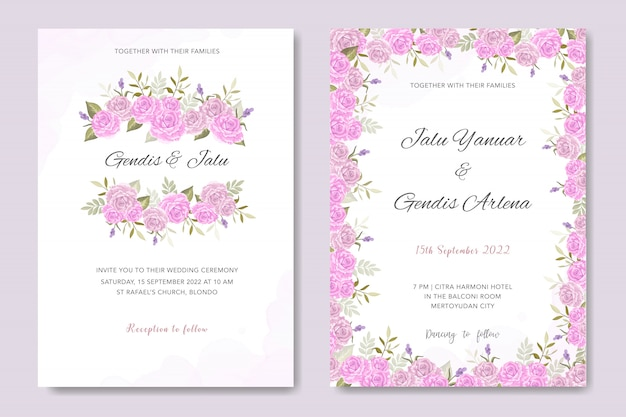 Invitation de mariage design floral rose