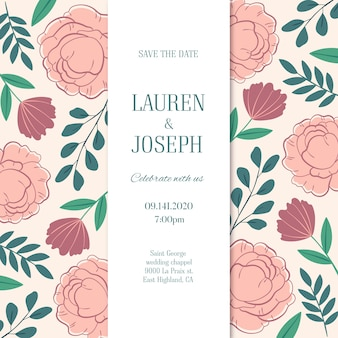 Invitation de mariage dessinée à la main avec des fleurs