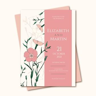 Invitation de mariage dessinée à la main de gravure