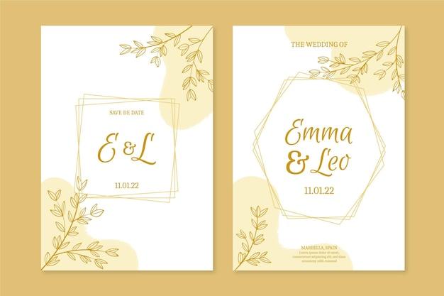 Invitation de mariage doré dessiné à la main