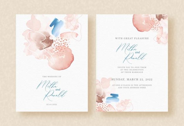 Invitation de mariage avec éclaboussures abstraites de fond de peinture pêche et bleu