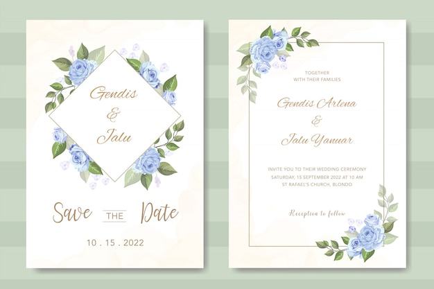 Invitation de mariage élégant avec belle floral