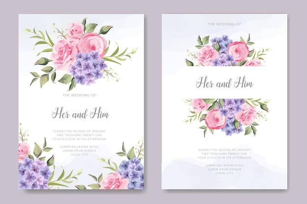 Invitation de mariage élégant avec bouquet de fleurs d'hortensia