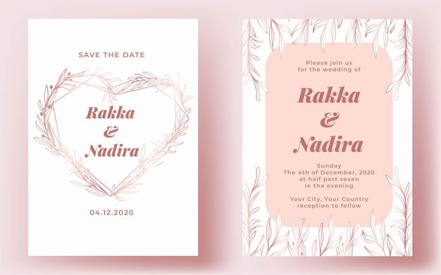Invitation de mariage élégant coeur rose or dessiné à la main