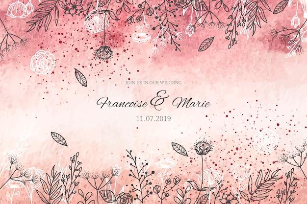 Invitation de mariage élégant avec fond doré