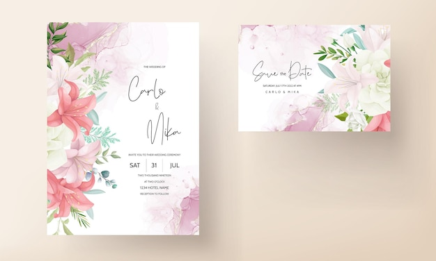 Invitation de mariage élégante avec une belle fleur et des feuilles de dessin à la main