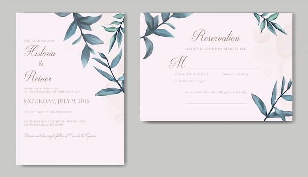 Invitation de mariage élégante avec des feuilles