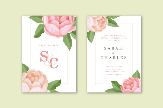 Invitation de mariage élégante avec grande fleur