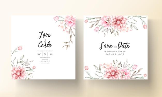 Invitation de mariage élégante avec des motifs floraux aquarelles