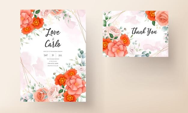 Invitation de mariage élégante avec des ornements floraux orange