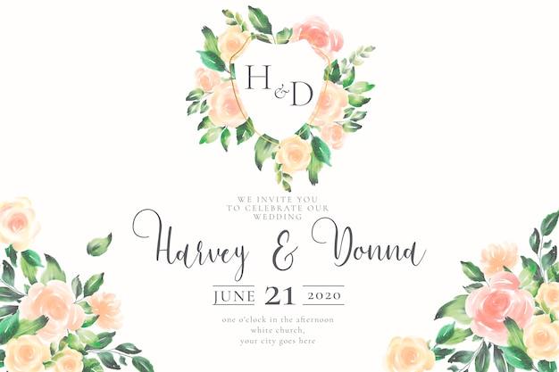 Invitation de mariage avec emblème et monogramme
