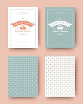 Invitation de mariage enregistrer la conception de modèle typographique vintage de cartes date