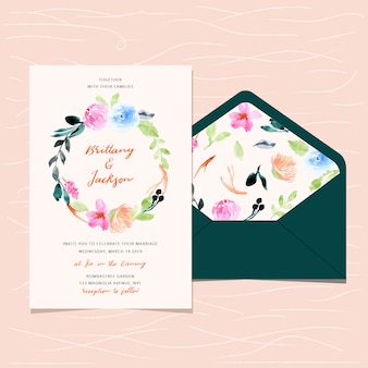 Invitation de mariage et enveloppe avec aquarelle florale