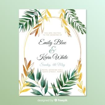 Invitation de mariage avec feuilles de cadre