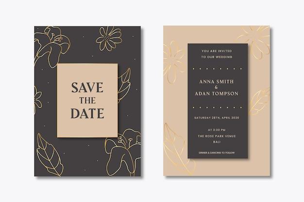 Invitation de mariage avec des feuilles d'or