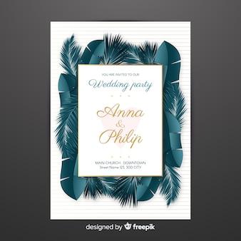 Invitation de mariage de feuilles de palmier réalistes