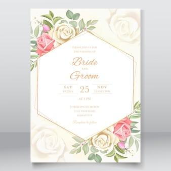 Invitation de mariage avec des feuilles et des roses design