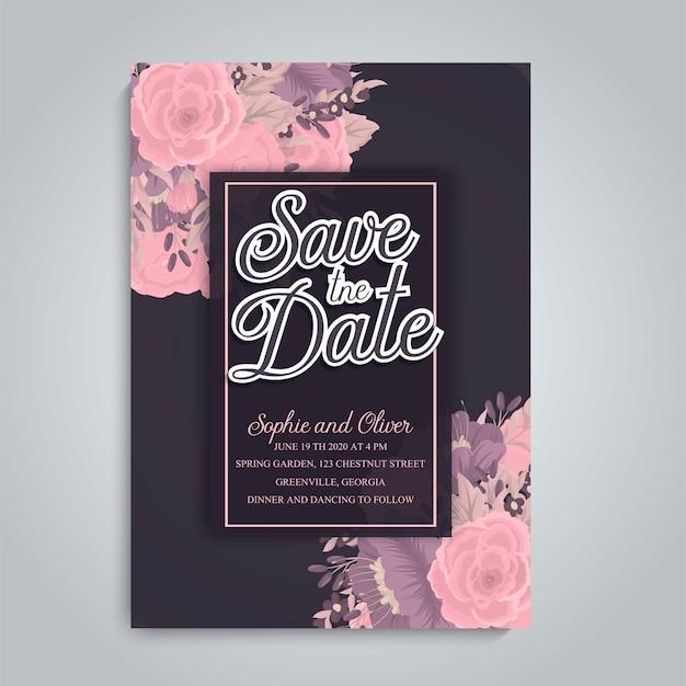 Invitation de mariage avec une fleur colorée