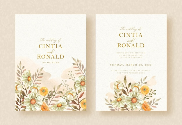 Invitation de mariage avec des fleurs de beauté peignant le fond d'aquarelle