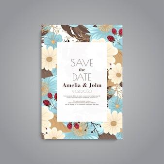 Invitation de mariage avec des fleurs bleu clair
