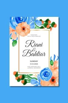 Invitation de mariage avec des fleurs bleues oranges aquarelles