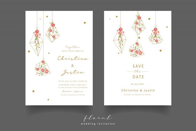 Invitation de mariage avec des fleurs de camélia aquarelles