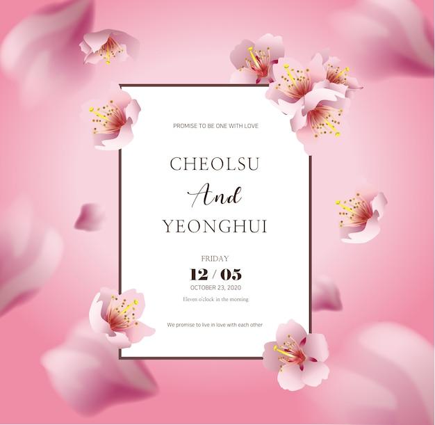 Invitation de mariage avec des fleurs de cerisier