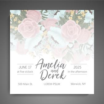 Invitation de mariage avec des fleurs colorées