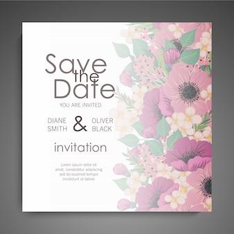 Invitation de mariage avec des fleurs colorées.