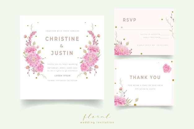 Invitation de mariage avec des fleurs de dahlias aquarelle