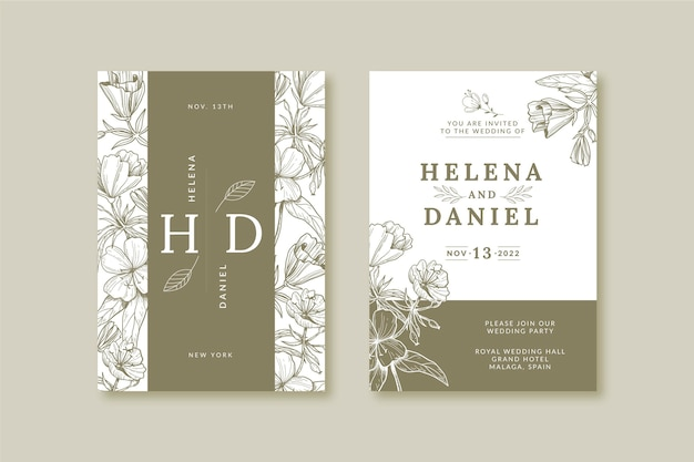 Invitation de mariage de fleurs dessinées à la main