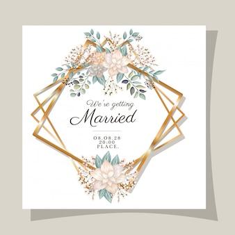 Invitation de mariage avec des fleurs et des feuilles de cadre doré